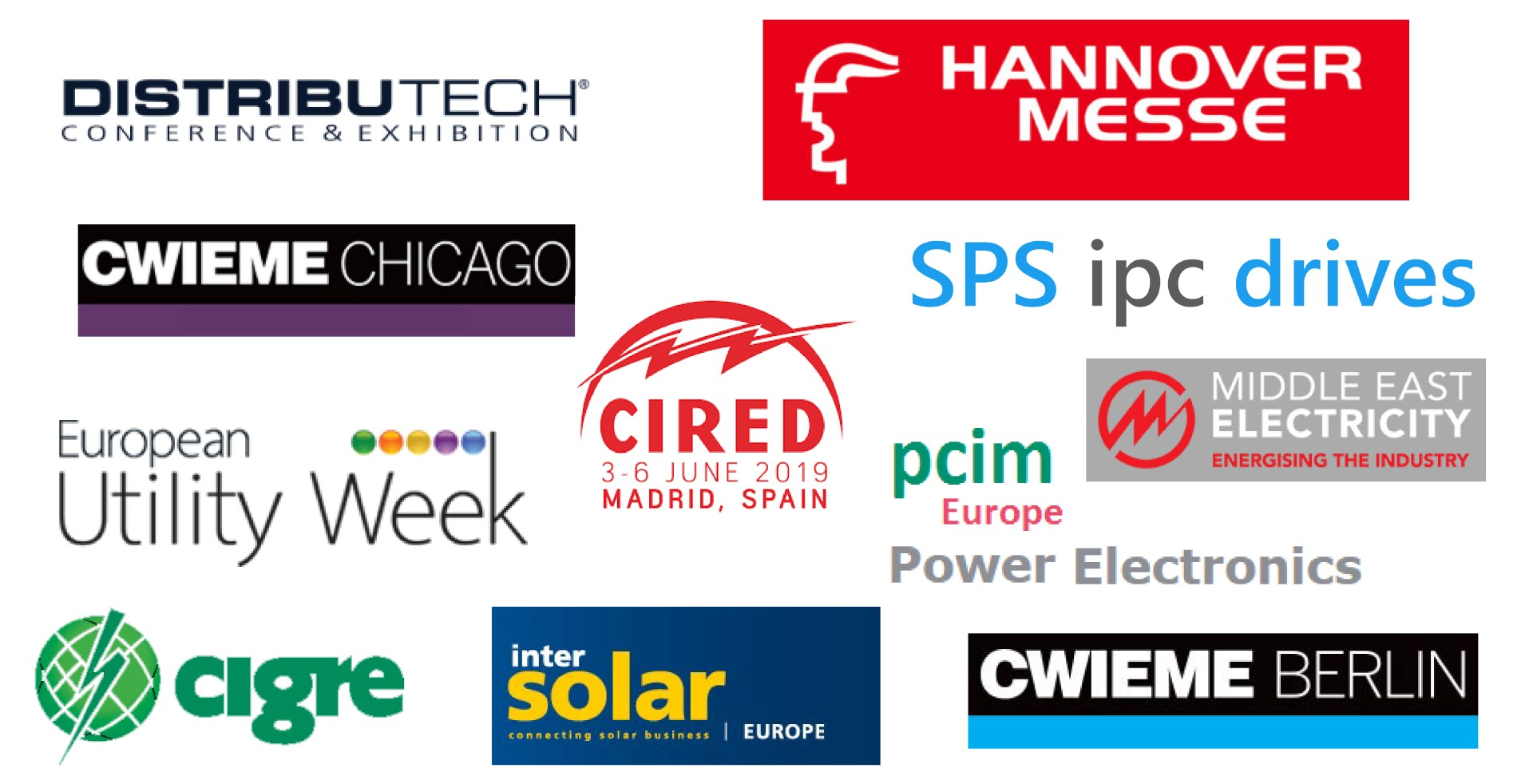 Trade_Fair, Distributech_Black, EUW, Hannover Messe, Intersolar, PCIM Europe, SPS, Middle-East Electricity, CWIEME_Berlin, CWIEME_Chicago, CIRED, CIGRE_New
