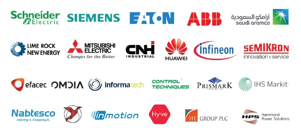 PTR Power Technology Research Customers logo Schneider Electric-Siemens-Eaton-ABB- Saudi Aramco- Lime Rock New Energy- Mitsubishi Electric- Infineon- Huawei- Semikron- Control Techniques- Prismark- Informa tech- ITE group PLC- IHS Markit- Nabtesco- GIS- In Motion- CNH industrial - HPS Hammond Power Solutions- efacec- Hyve-Omdia